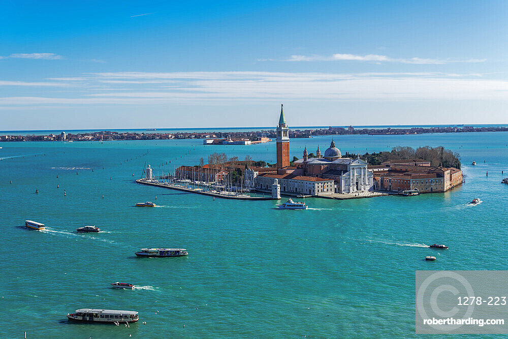 Venice, Italy San Giorgio Maggiore Island. Day view of San Zorzi Mazor with church at Venetian lagoon, with Lido background view