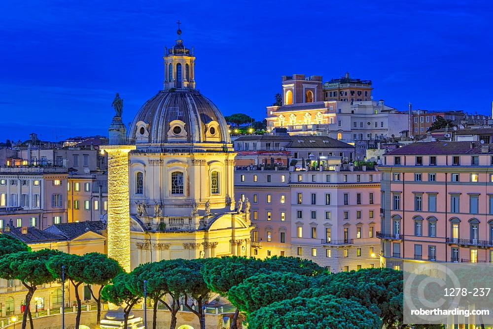 Rome, Italy Trajan???s Column Colonna Traiana & Chiesa del Santissimo Nome di Maria al Foro Traiano blue hour elevated view.