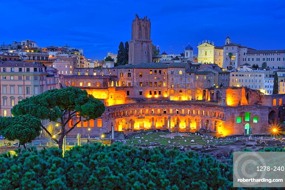 Rome, Italy Trajan???s Market - Mercati di Traiano - restored Roman forum complex blue hour elevated view.