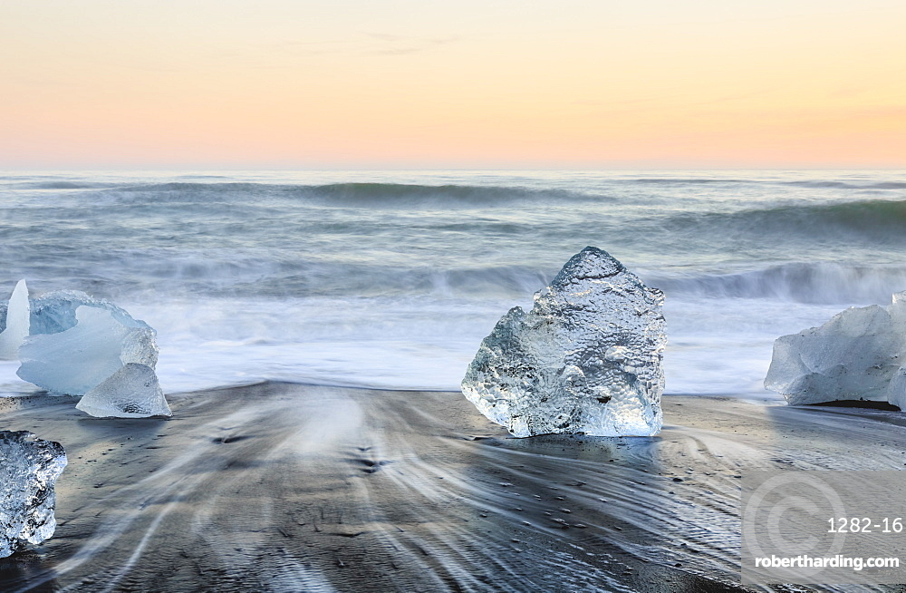 Icebergs on Jokulsarlon black ice beach, Iceland, Polar Regions
