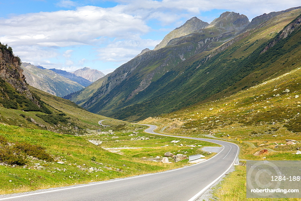 Curved road on the Silvretta High Alpine Road, a pass in the Austrian Alps, Tyrol, Austria, Europe