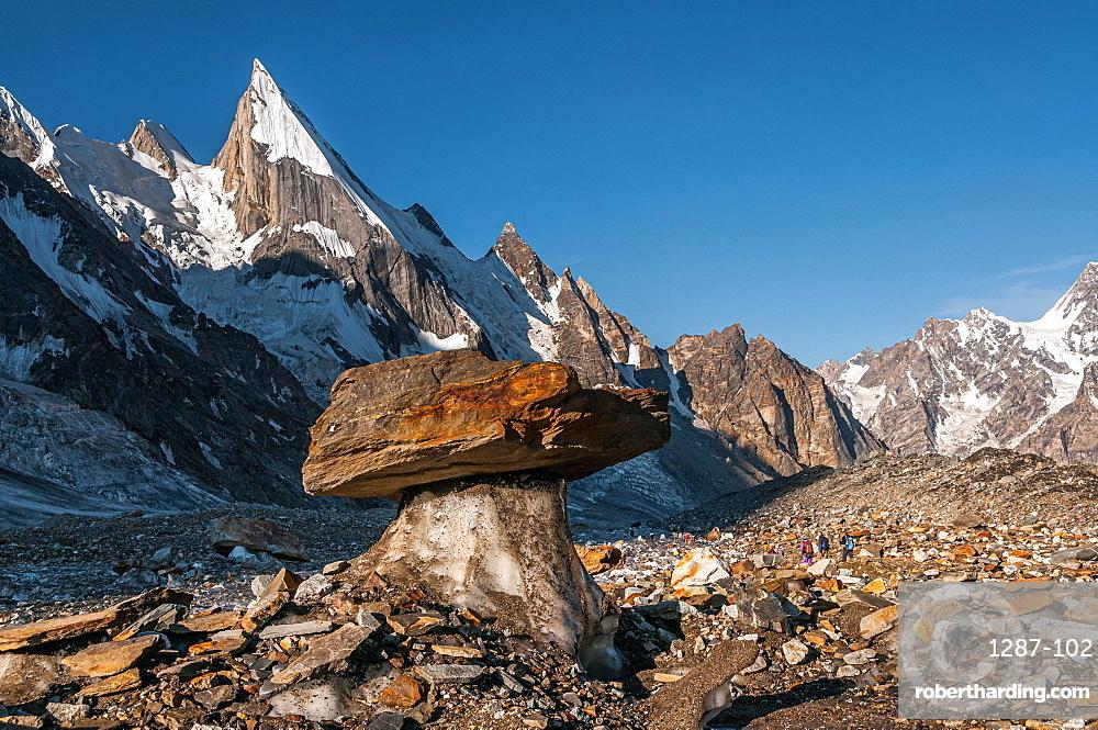 Laila Peak in the Hushe Valley, glacial table in the foreground, Karakoram Range, Gilgit-Baltistan, Pakistan, Asia