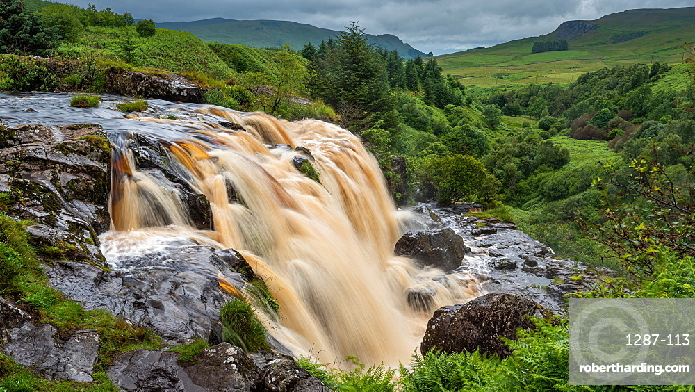 The Loup of Fintry waterfall on the River Endrick is located approx. two miles from Fintry village, near Stirling, Scotland