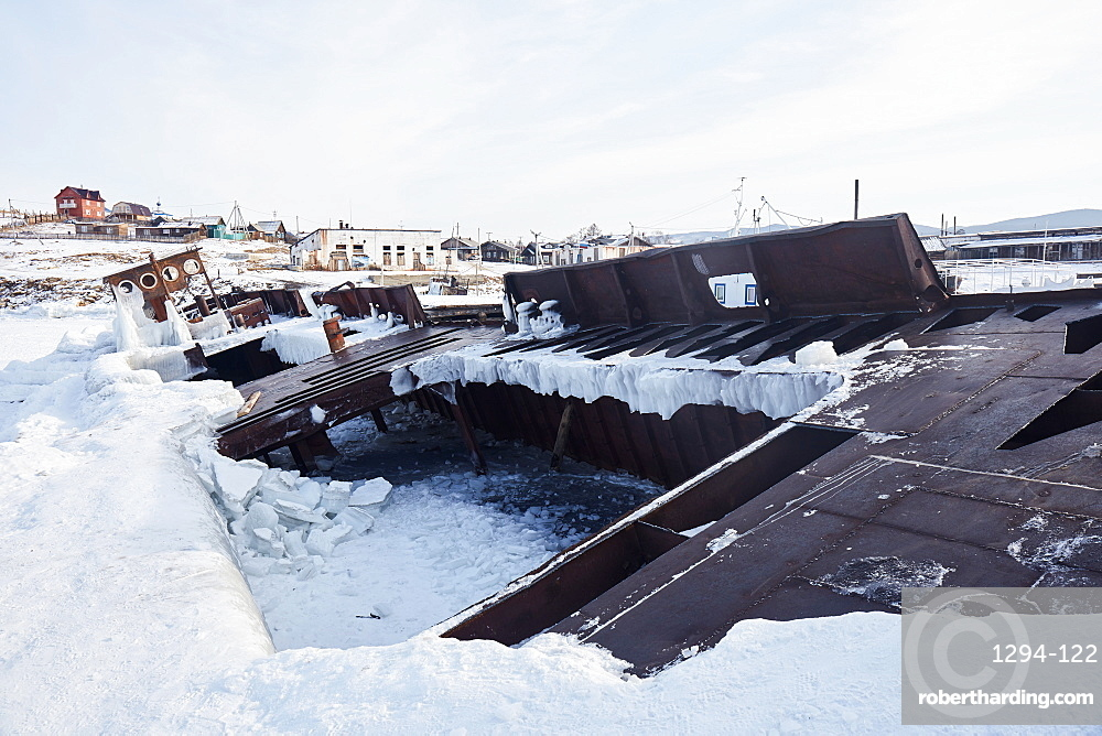 Ship wreck covered with ice at Olchon island, Siberia, Russia, Eurasia