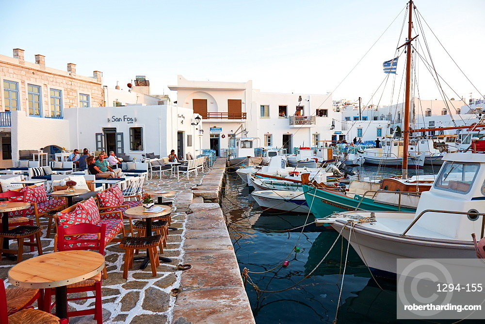 Naoussa harbour front, Paros, Cyclades Islands, Greek Islands, Greece, Europe