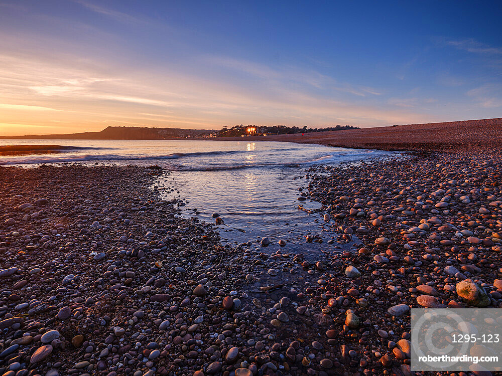 Warm afternoon winter sunset at Budliegh Salterton, Devon, UK