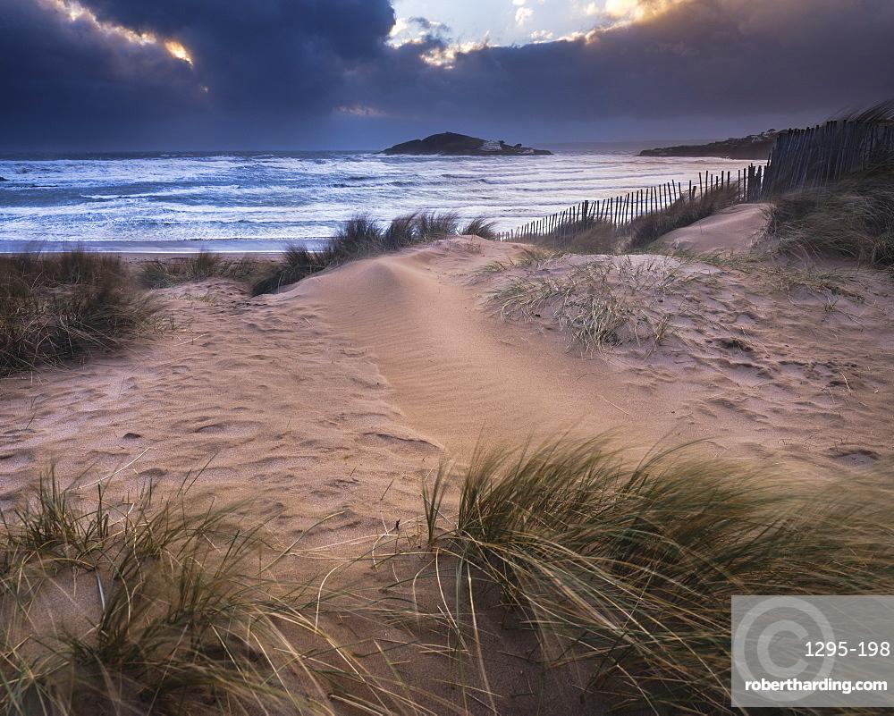 The beach at Bantham during a storm, near Kingsbridge, Devon, England, United Kingdom, Europe