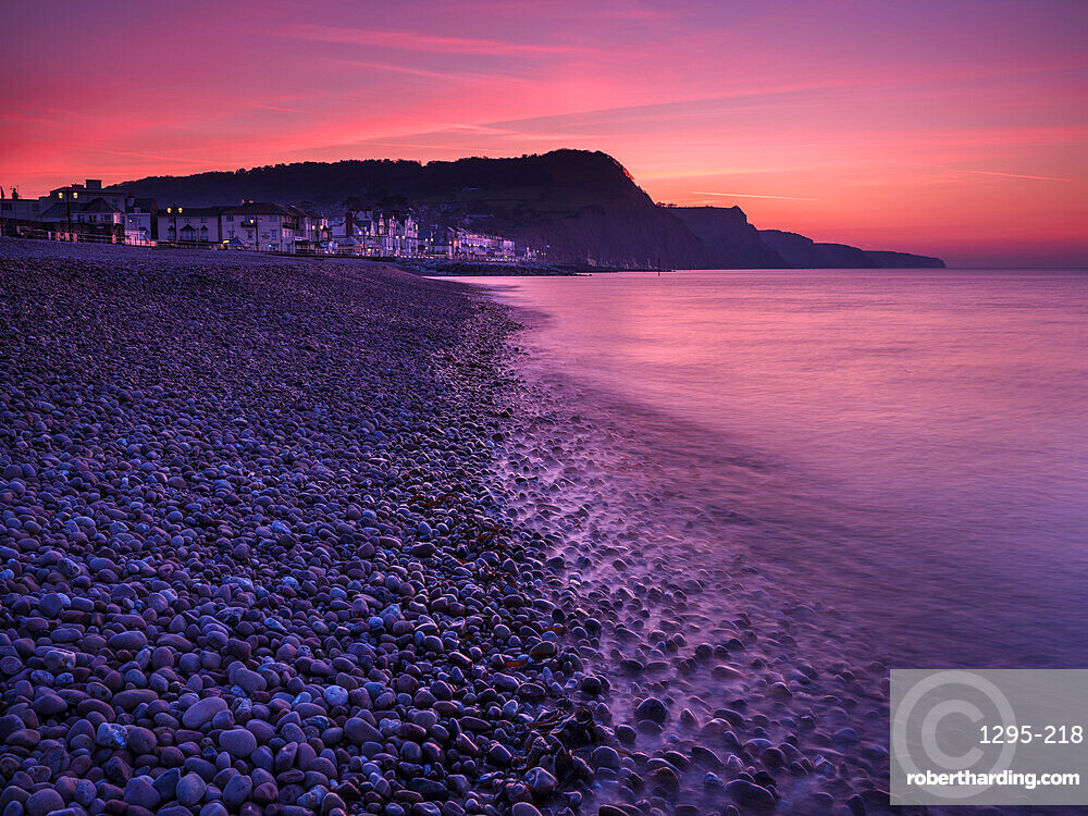 Vivid dawn twilight at the picturesque seaside town of Sidmouth, Devon, UK