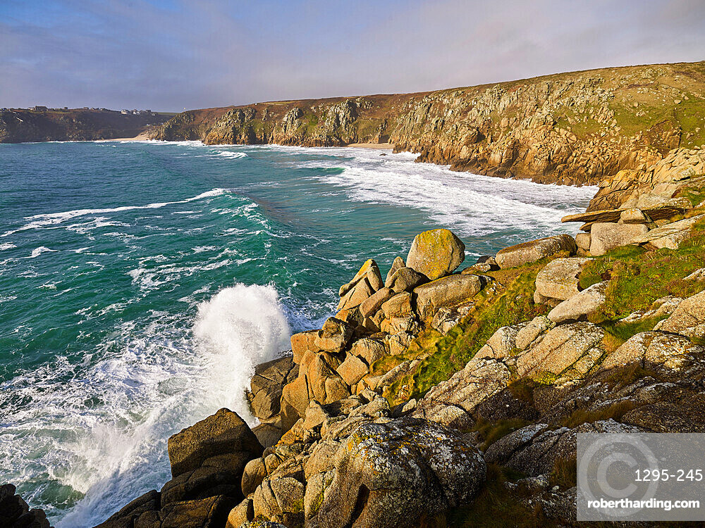 The beautiful & secluded beach of Pedn Vounder viewed from Logan Rock, near Porthcurno, Cornwall, UK