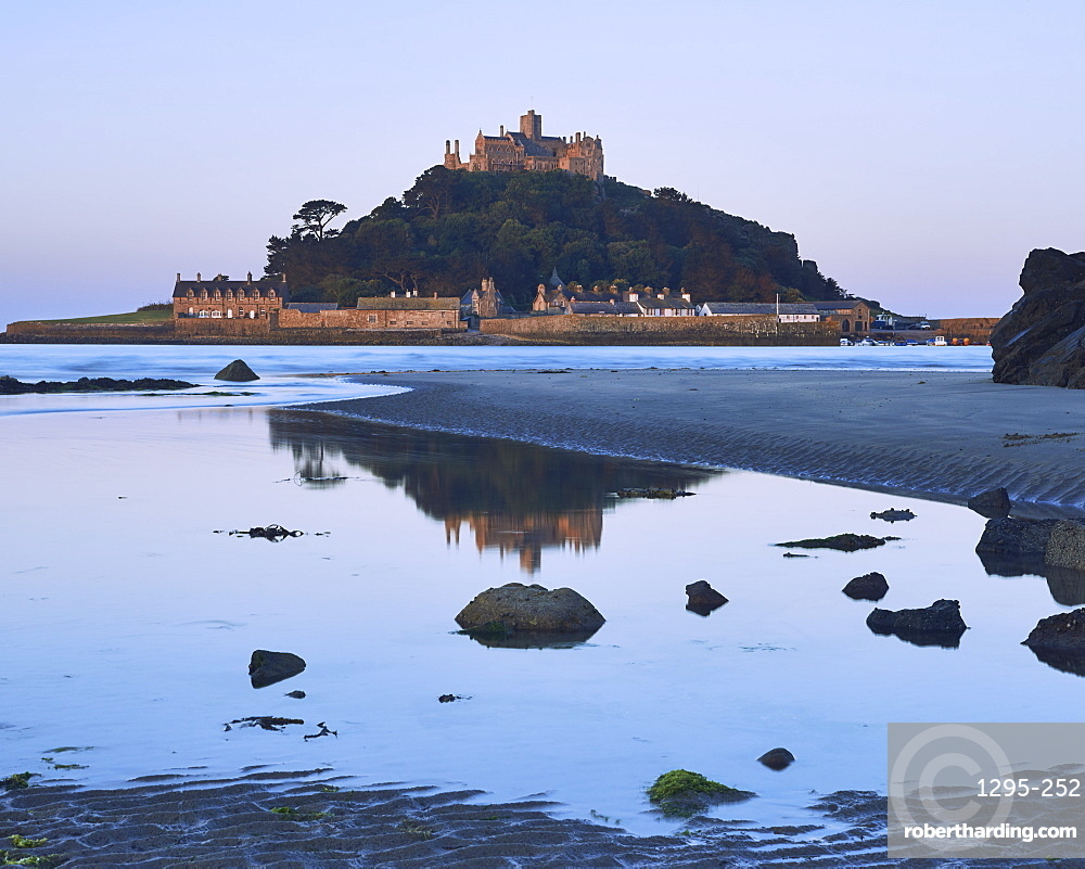 Twilight reflections of St. Michael's Mount in Marazion, Cornwall, England, United Kingdom, Europe