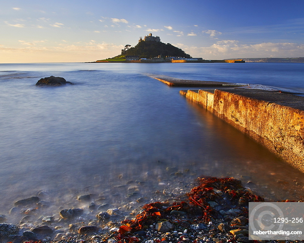 Winter sunrise at St. Michael's Mount in Marazion, Cornwall, England, United Kingdom, Europe