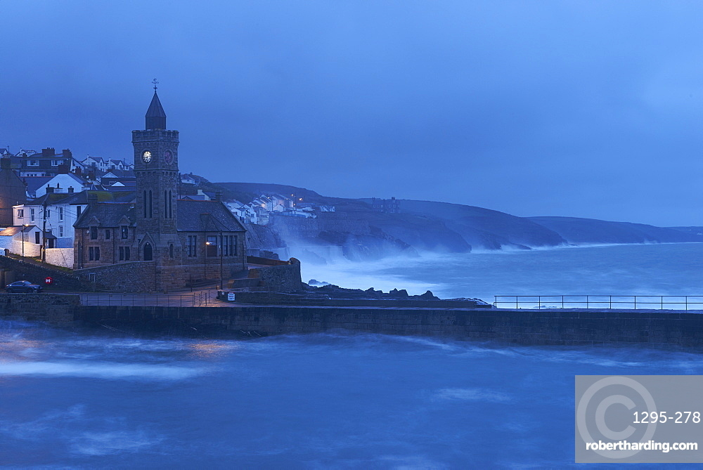 Early morning in a gale at Porthleven, Cornwall, England, United Kingdom, Europe