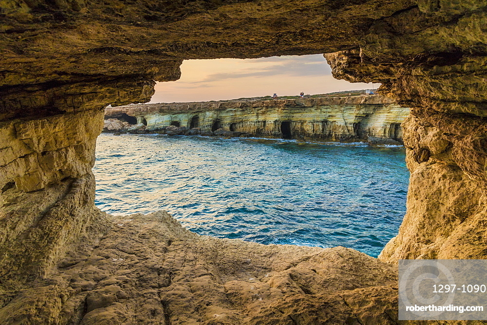 Sea caves at Cape Greco, Cyprus, Mediterranean, Europe