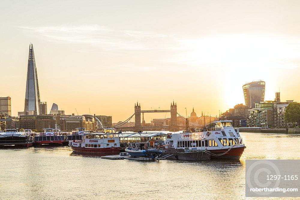 Cityscape, Shard, Tower Bridge and River Thames, London, England, United Kingdom, Europe
