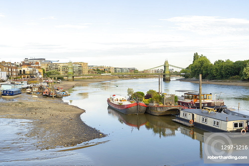 Hammersmith Bridge and the River Thames, London, England, United Kingdom, Europe