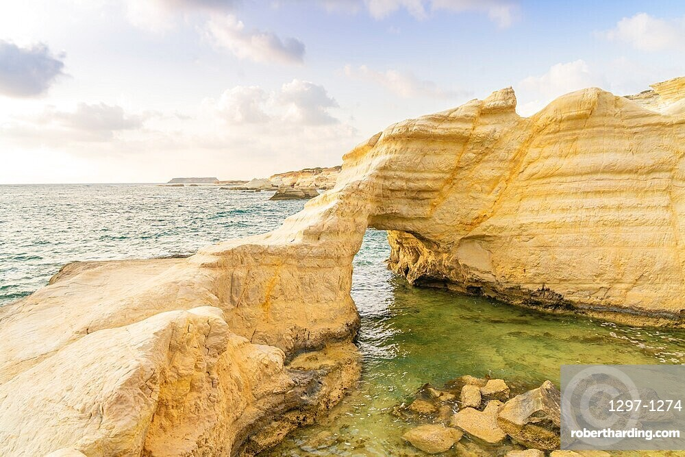Coastal seascape at sunset in Paphos, Cyprus, Europe