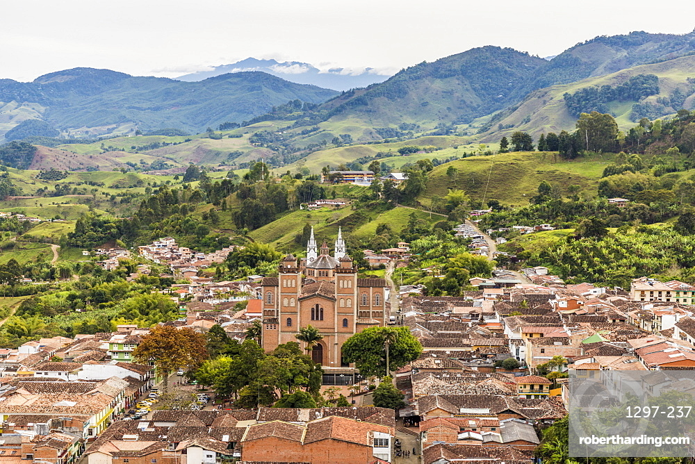 The view of Jerico from Christ Statue hill, Morro El Salvador, in Jerico, Antioquia, Colombia, South America