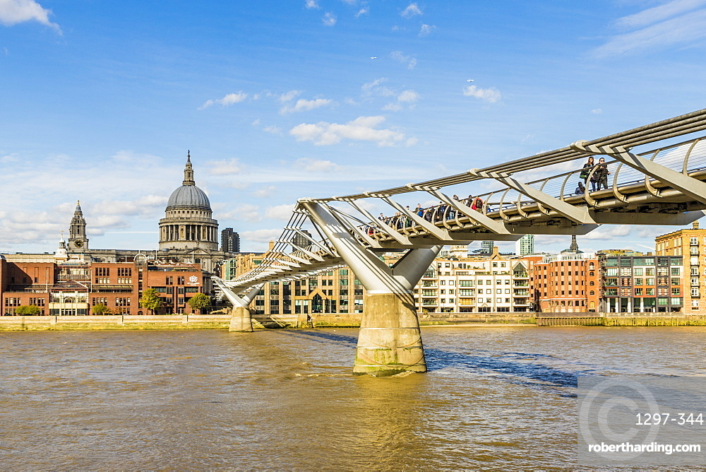 St. Paul's Cathedral and the Millennium Bridge over the River Thames, London, England, United Kingdom, Europe