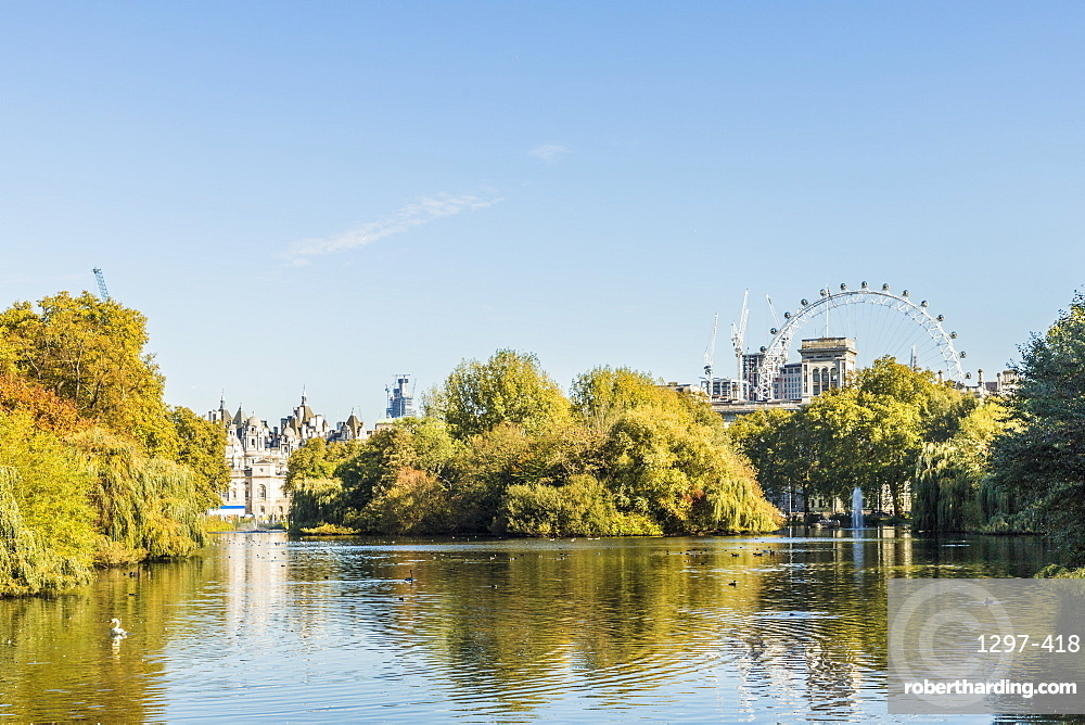 A view of St. James's Park lake and the London Eye in the background in St. James's Park, London, England, United Kingdom, Europe