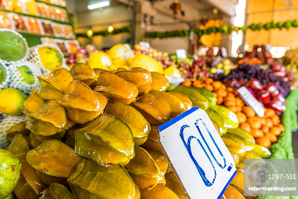 A market stall selling fruit, including Star fruit in Phuket Old Town, Phuket, Thailand, Southeast Asia, Asia
