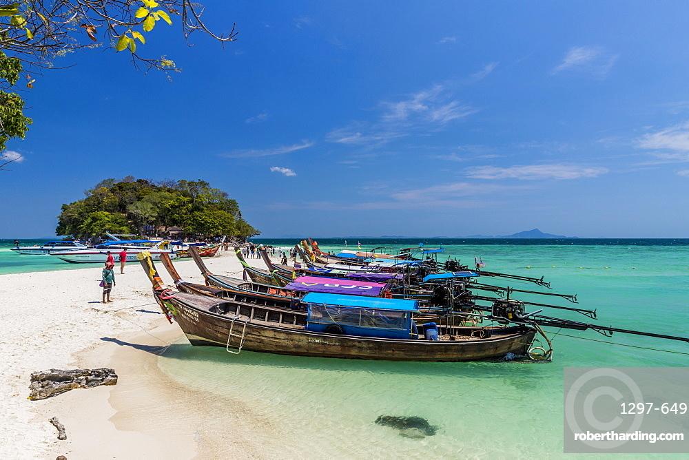 Long tail boats on Tup Island in Ao Nang, Krabi, Thailand, Southeast Asia, Asia