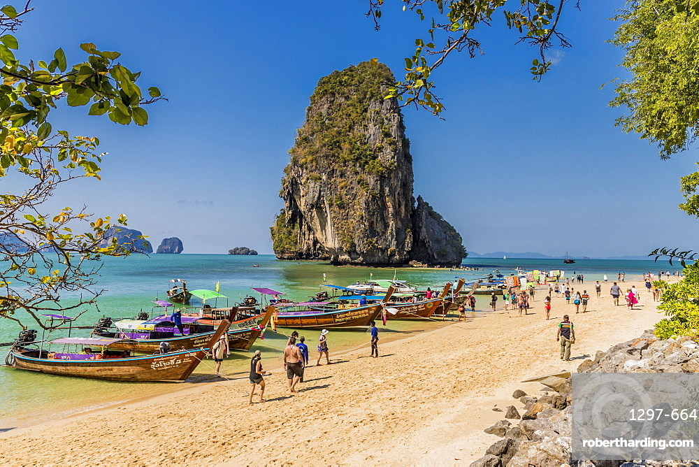 Long tail boats on Phra Nang Cave Beach on Railay in Ao Nang, Krabi Province, Thailand, Southeast Asia, Asia