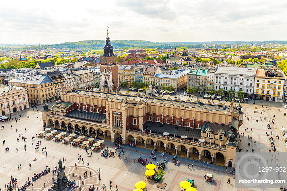 Elevated view of Cloth Hall in the Main Square in the medieval old town, a UNESCO World Heritage site, in Krakow, Poland, Europe