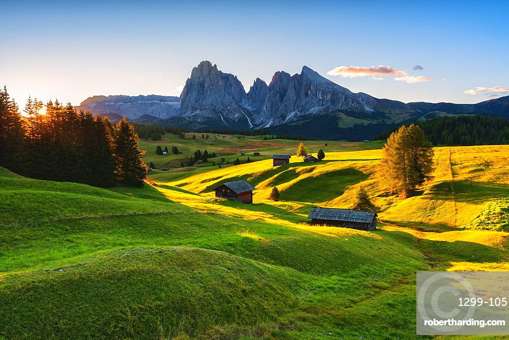 Sunrise in Seiser Alm, Dolomites, UNESCO World Heritage Site in Trentino-Alto Adige, Italy, Europe