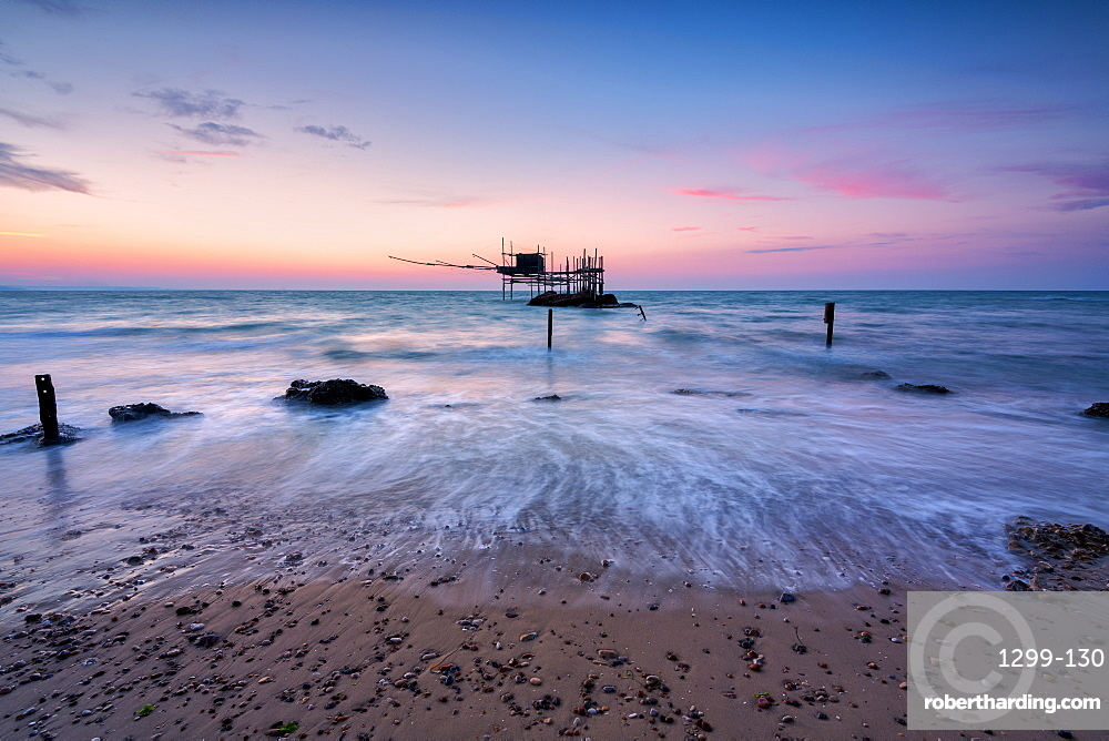 Costa dei Trabocchi National Park at dawn, Vasto, Punta Aderici, Marche, Italy, Europe