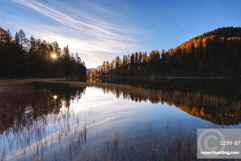 Autumn sunrise at Lake Malghette, Val Rendena, Trentino-Alto Adige, Italy, Europe
