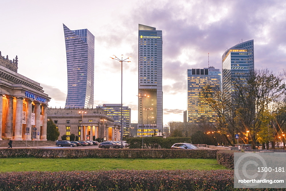 Modern towers in the downtown district, Warsaw, Poland, Europe