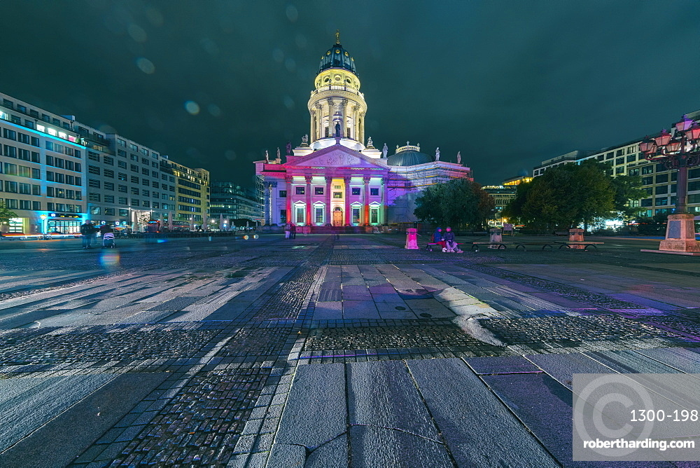 The French Dom (Cathedral) at Gendarmenmarkt at night, Berlin, Germany, Europe
