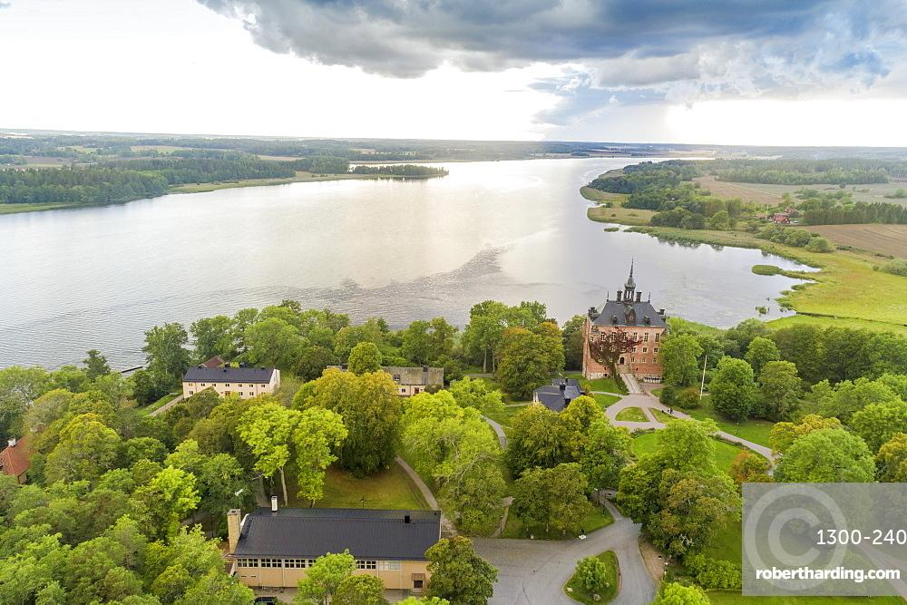 Wik (Vik) Castle and Lake Malaren near Wik Castle, in Uppsala County, Sweden, Scandinavia, Europe