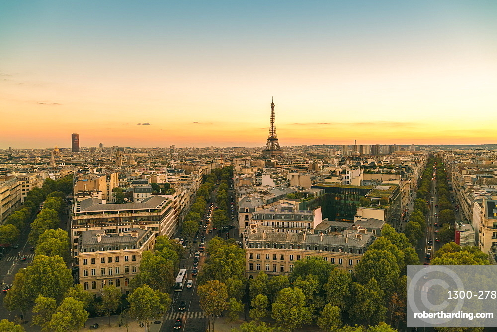 View of Eiffel Tower from Arc de Triomphe, Paris, France, Europe