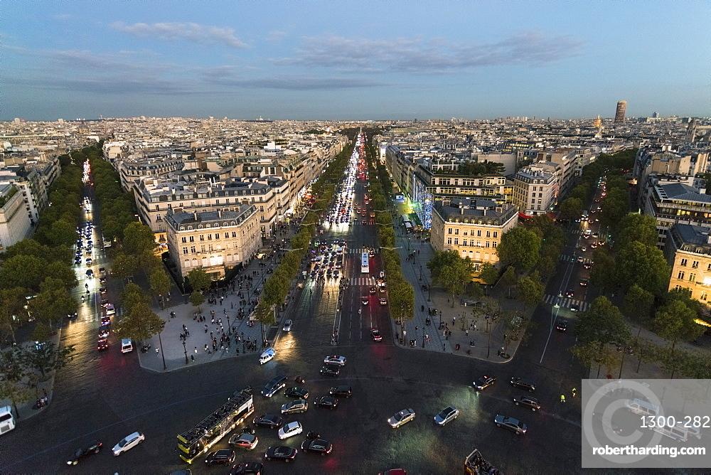 View from Arc de Triomphe in Paris towards Avenue des Champs-Elysees, Paris, France, Europe