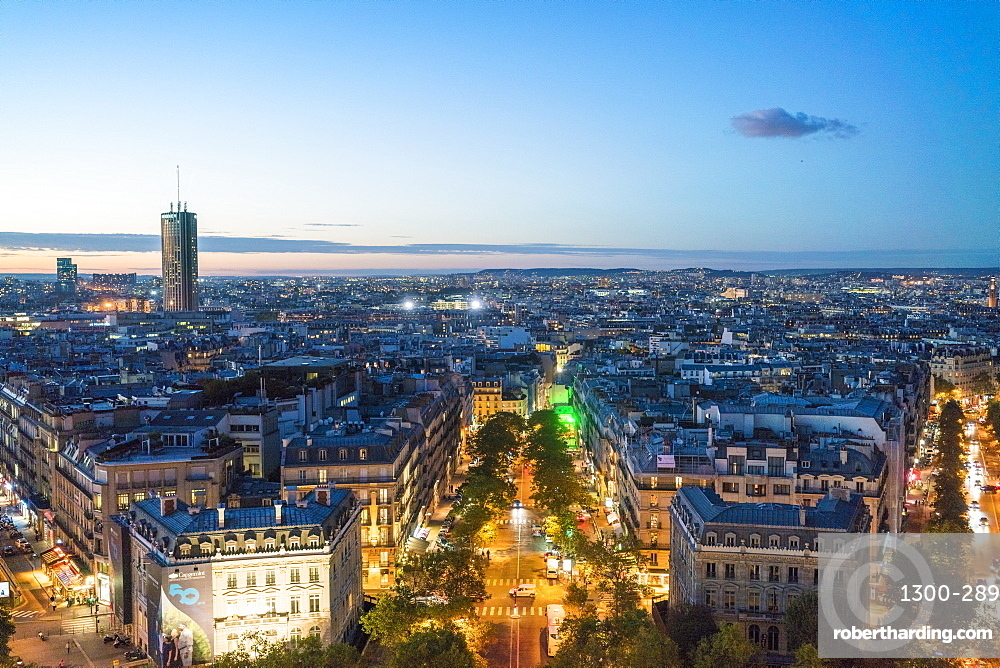 Triumphal Arch Northwest Entrance, Avenue Marc-Mahon, Hyatt Hotel tower on the left, Paris, France, Europe