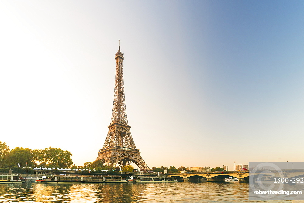 Eiffel Tower early in the morning viewed from the other side of the River Seine, Paris, France, Europe
