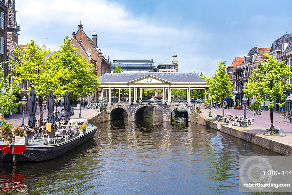 Koornbrug bridge in the heart of Leiden old city by the city hall