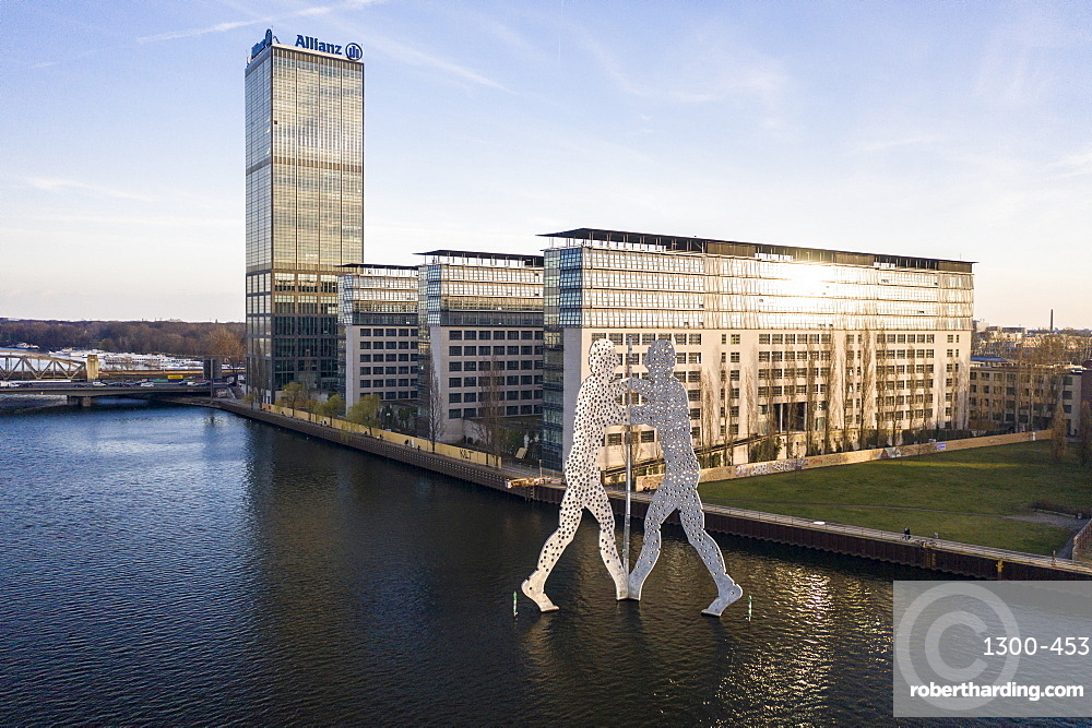 Aerial view of the Molecule Man statue and the Treptowers by the Spree River, Berlin, Germany, Europe