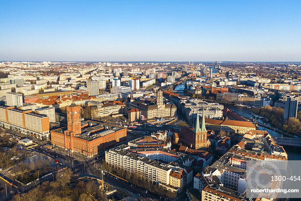 View of Rotes Rathaus (City town hall) and Nikolaiviertel (St. Nicolas Church Quarter) in Berlin Mitte, Berlin, Germany, Europe