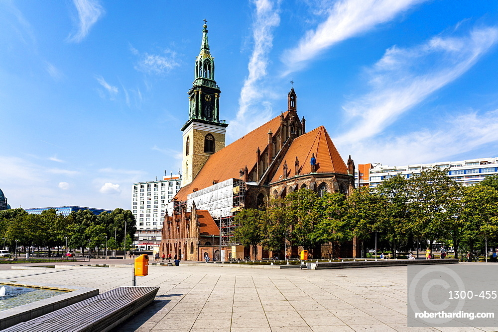 Marienkirche (St. Mary's Church) on Alexander Platz with blue sky, Berlin, Germany, Europe