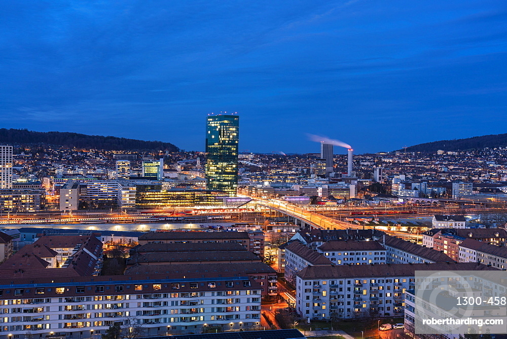 view of Zurich district 4 and 5 and Prime Tower, Hard Bridge from above at night, Zurich, Switzerland
