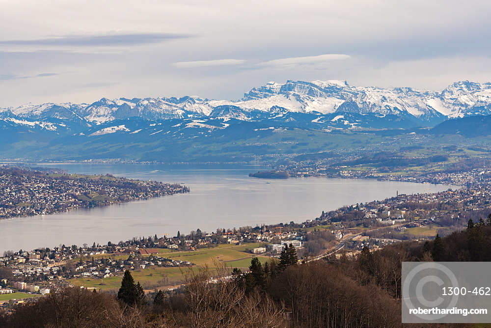 View of Zurich lake and city with the mountains in the background from Uetli mountain, Zurich, Switzerland