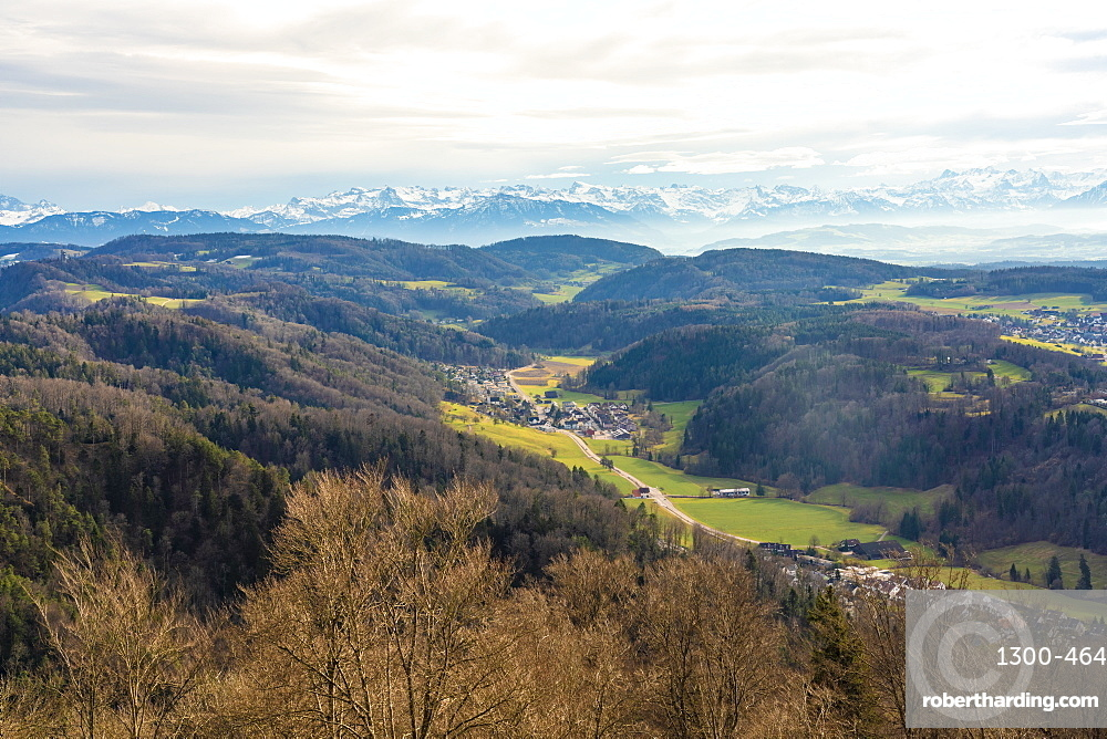 View of fields around Zurich with the Alps in the background from Uetliberg, Zurich, Switzerland