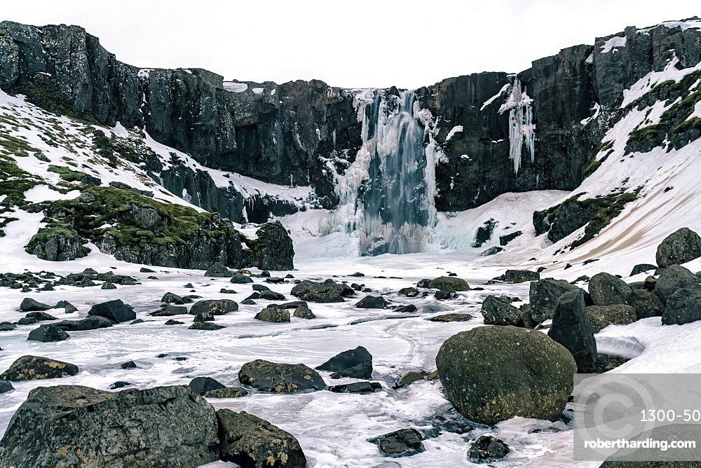 Gufufoss waterfall frozen in winter, Iceland, Polar Regions