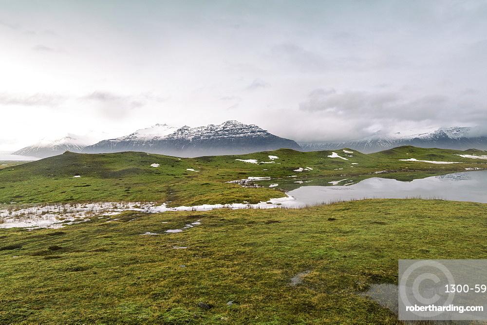 Landscape on the edge of Vatnajokull in winter with less snow, Iceland, Polar Regions