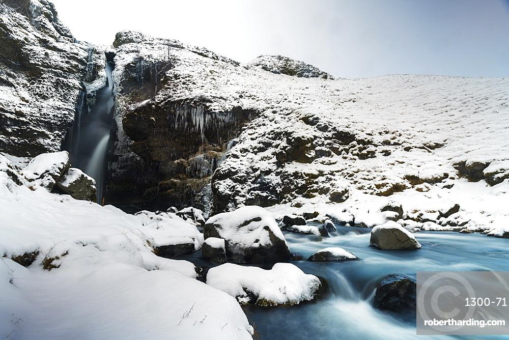 Gluggafoss waterfall in winter, Iceland, Polar Regions