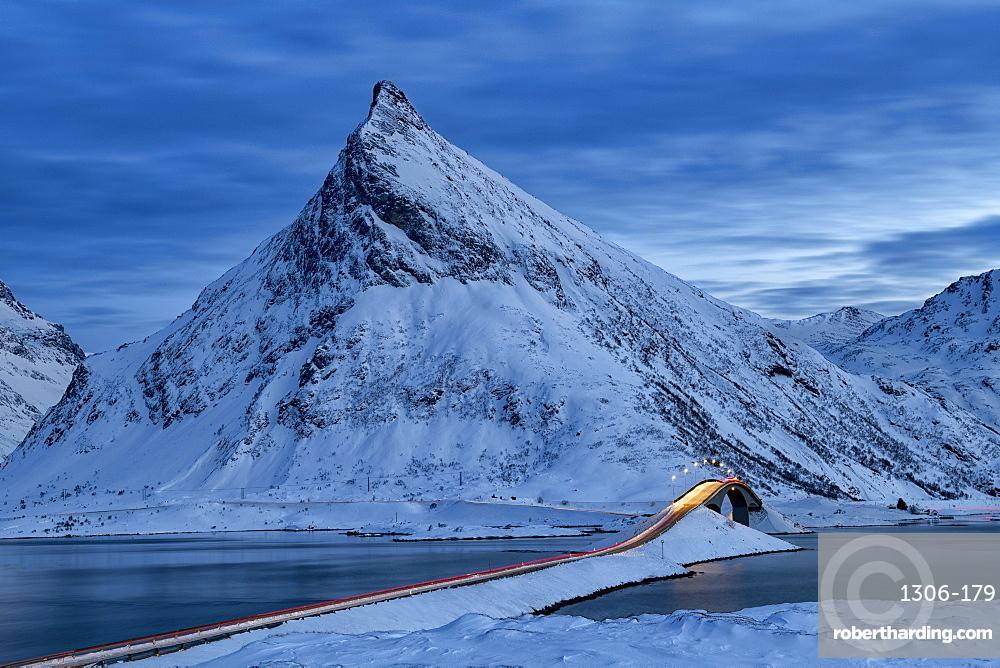 Fredvang Bridge at night with light trails, Lofoten, Arctic, Norway, Europe