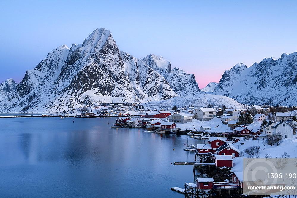 Reine sunrise in winter, Reinefjord, Moskenesoya, Lofoten, Arctic, Norway, Europe