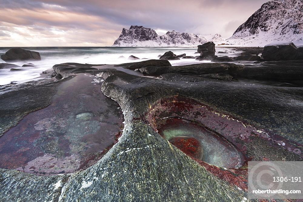 Rock formation at Uttakleiv Beach, Vestvagoy, Lofoten Islands, Nordland, Arctic, Norway, Europe